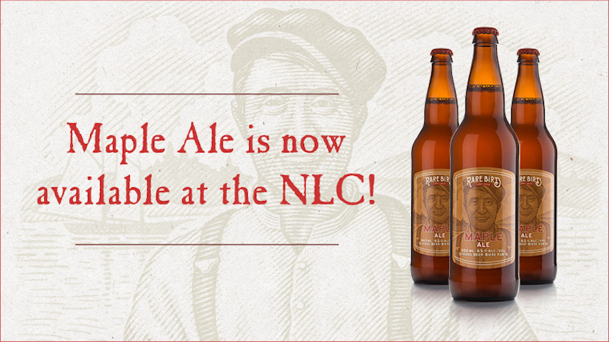 Three Rare Bird Maple Ale bottles. Maple Ale is now available at the NLC!